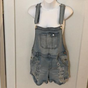 Denim - Size 11-13 Girls Short Denim Overalls